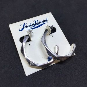 Lucky Brand Silver Toned Hoop Earrings